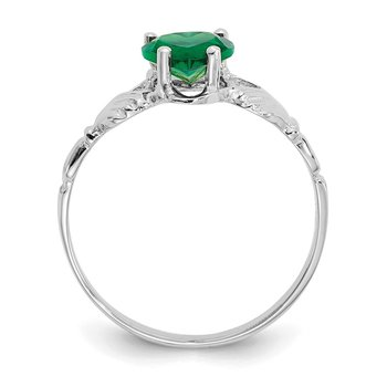 14k White Gold May CZ Birthstone Claddagh Ring