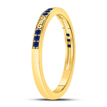 10kt Yellow Gold Womens Round Blue Sapphire Flourished Stackable Band Ring 1/6 Cttw