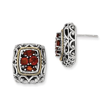 Sterling Silver w/14k Diamond & Garnet Earrings