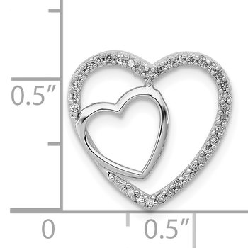 Sterling Silver Rhodium Diam. Heart Chain Slide