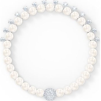 Treasure Pearl Bracelet, White, Rhodium plated