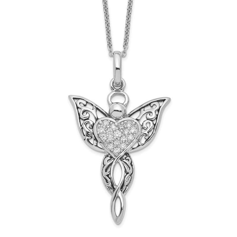 Quality Gold Sterling Silver CZ Antiqued Angel of Blessing 18in Necklace
