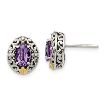 Sterling Silver w/ 14K Accent Amethyst Post Earrings