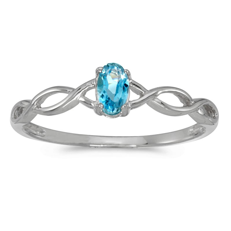 Color Merchants 10k White Gold Oval Blue Topaz Ring
