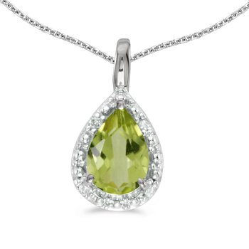 10k White Gold Pear Peridot Pendant