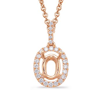 Diamond Pendant For 6X4mm oval Center