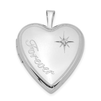 Sterling Silver Rhodium-plated 20mm Forever with Diamond Star Heart Locket