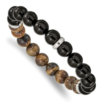Stainless Steel Polished Black Agate and Tiger's Eye Stretch Bracelet