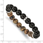 Chisel Stainless Steel Polished Black Agate and Tiger's Eye Stretch Bracelet