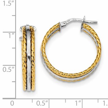 14k Two Tone Polished Fancy Hoops