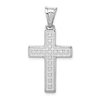 Sterling Silver Rhodium-plated Polished & Textured Cross Pendant