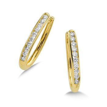 Channel set Diamond Oval Hoops in 14k Yellow Gold (1 ct. tw.) HI/SI2-SI3