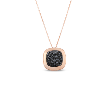 18KT GOLD LARGE PENDANT WITH BLACK DIAMONDS