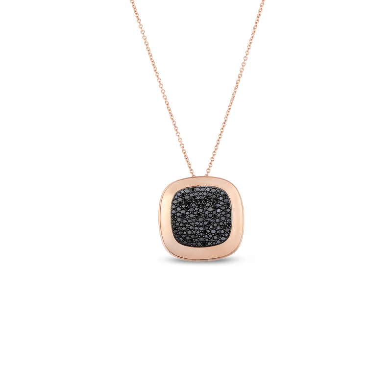 Roberto Coin 18Kt Gold Large Pendant With Black Diamonds
