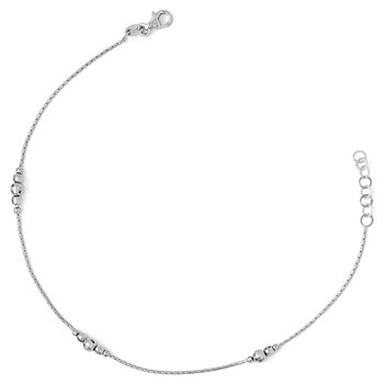 Leslie's Sterling Silver Polished w/1in ext. Anklet