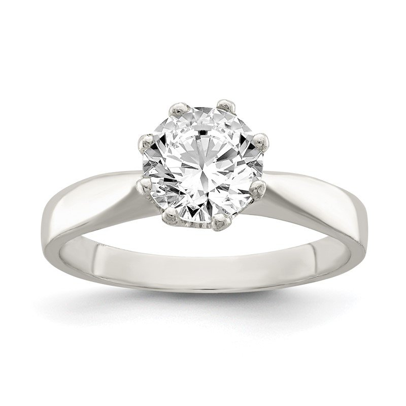 Quality Gold Sterling Silver Polished CZ Ring