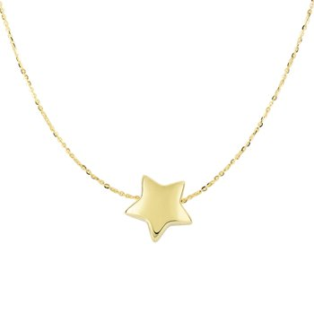 14K Gold Puffed Star Necklace