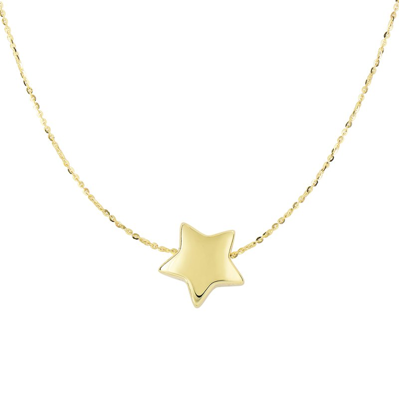 Royal Chain 14K Gold Puffed Star Necklace