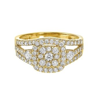 Diamond Cushion Halo Engagement & Wedding Ring in 14k Yellow Gold (1ctw)
