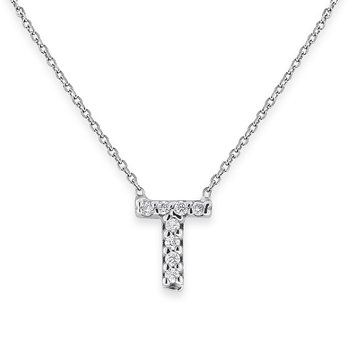 Diamond Bitty Block Initial T Necklace