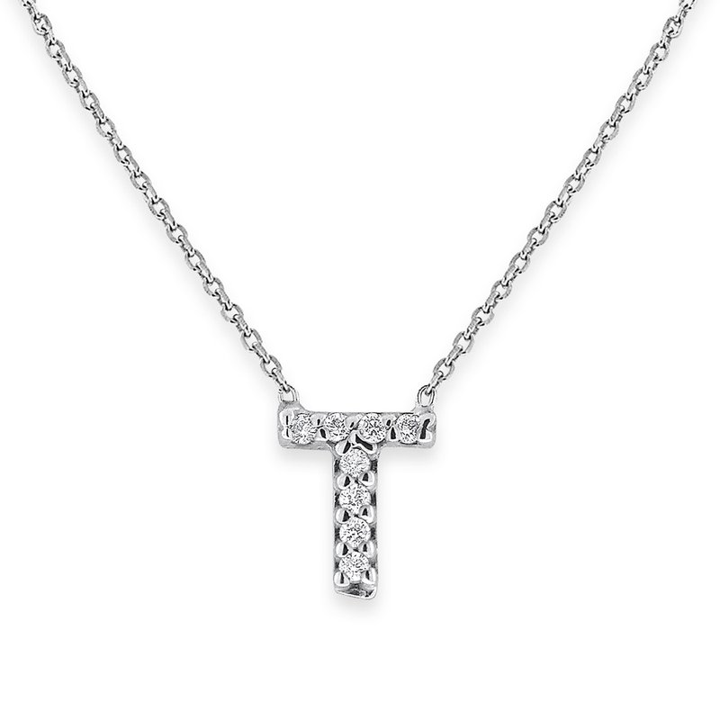 KC Designs Diamond Bitty Block Initial T Necklace