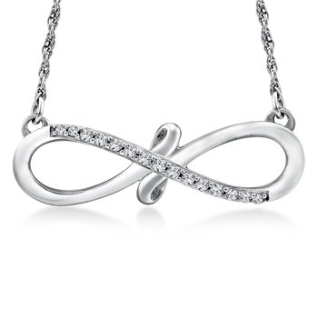 Diamond Infinity Pendant in 14K White Gold (.08 ct. tw.)