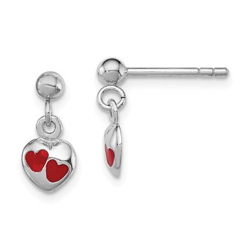Sterling Silver RH Plated Child's Red Enameled Heart Dangle Earrings