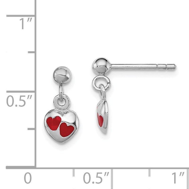 Quality Gold Sterling Silver RH Plated Child's Red Enameled Heart Dangle Earrings