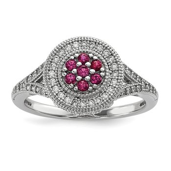 Sterling Silver Brilliant Embers Rhodium-plated CZ Circle Ring