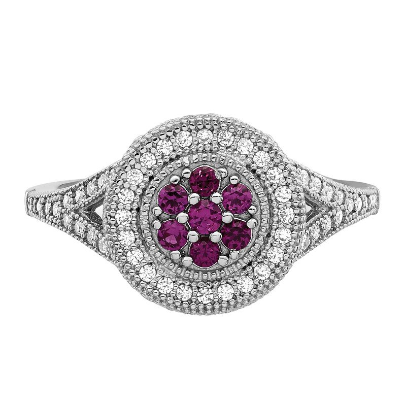 Quality Gold SS Rhodium-Plated CZ Brilliant Embers Circle Ring