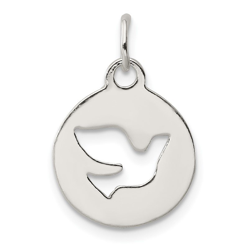 Quality Gold Sterling Silver Circle w/Dove Charm