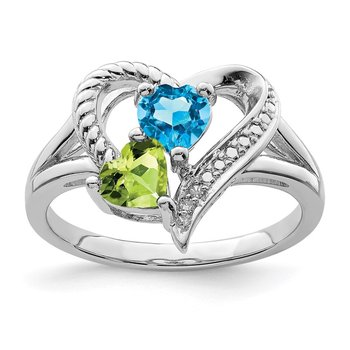 Sterling Silver Rhodium Blue Topaz Peridot Diam. Ring