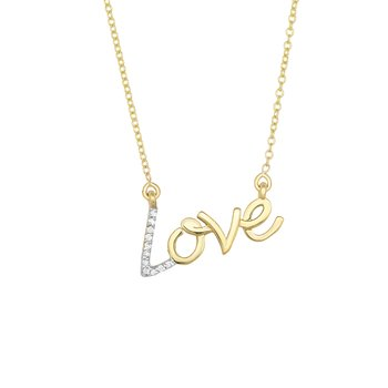 "14K Gold .07ct Diamond ""Love"" Necklace"