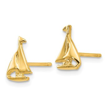 14k Sail Boat Earrings