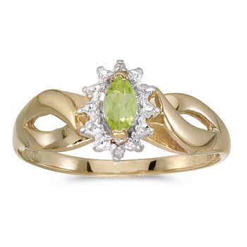10k Yellow Gold Marquise Peridot And Diamond Ring