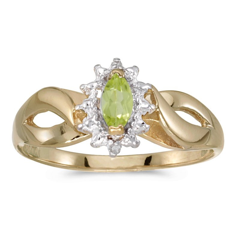 Color Merchants 10k Yellow Gold Marquise Peridot And Diamond Ring