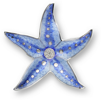 Sterling Silver Starfish Brooch-Blue. Diamonds