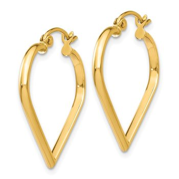 14k Polished 2mm Heart Hoop Earrings