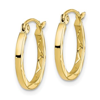 10K 1.5x15mm Diamond Cut Hoop Earrings