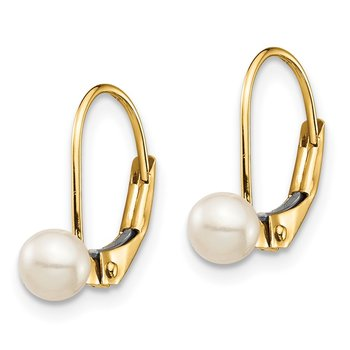 14K Madi K 4-5mm White Round FW Cultured Pearl Leverback Earrings