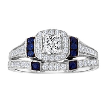 14KW 0.70CTW PRN CTR WITH SAPPHIRE BRIDAL SET