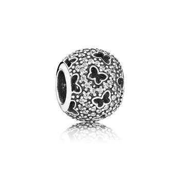 Abstract micro pave silver charm with cubic zirconia and cut-out butterflies