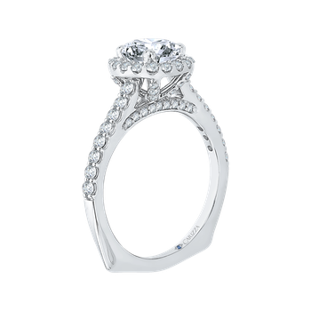 18K White Gold Princess Diamond Halo Engagement Ring (Semi-Mount)