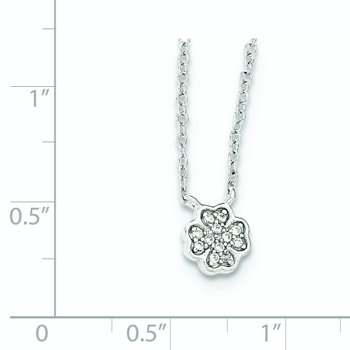 Sterling Silver Polished White CZ Four Leaf Clover Necklace