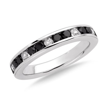 Channel Set Black and White diamond ring in 14k White Gold, (3/4 ct.tw.)