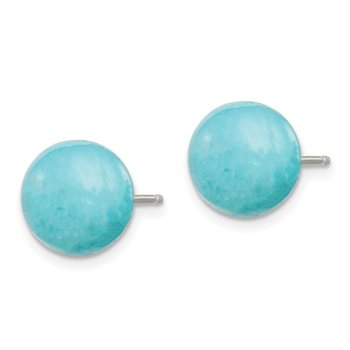 Sterling Silver 10-10.5mm Button Turquoise Post Earrings