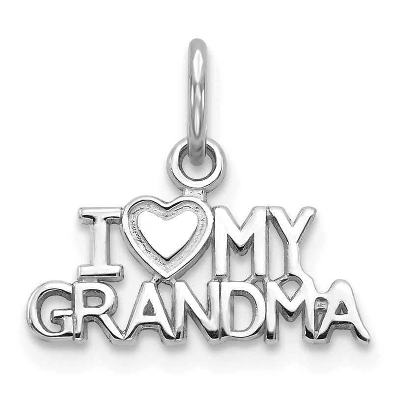 Quality Gold 14k White Gold I HEART MY GRANDMA Charm