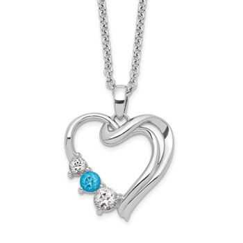 Sterling Silver Survivor Clear & Blue Swarovski Topaz Heart of Heal Necklac