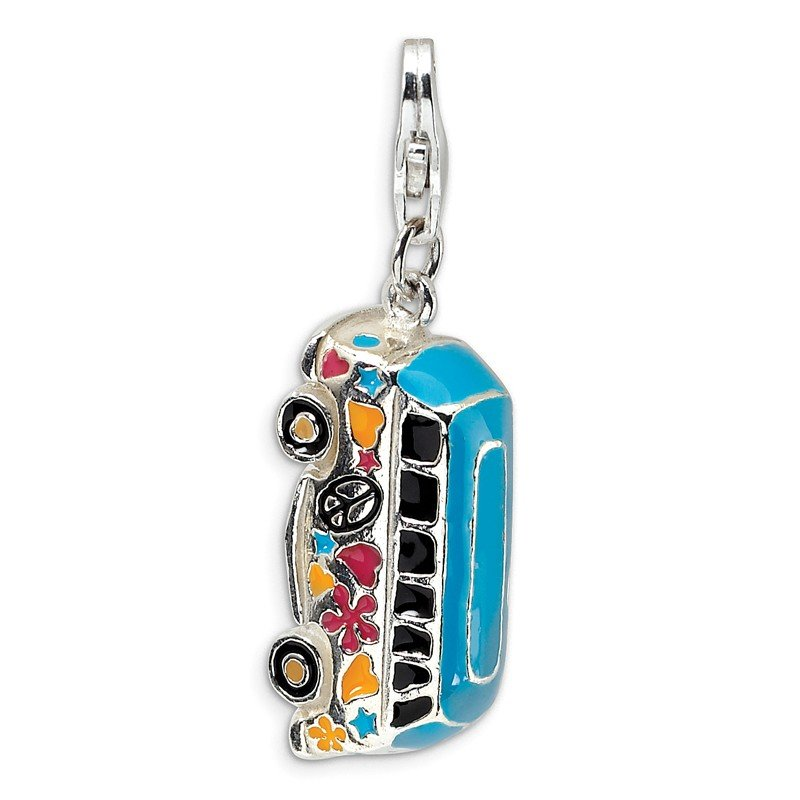 Quality Gold Sterling Silver 3-D Enameled Hippie Bus w/Lobster Clasp Charm