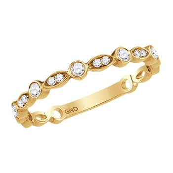 10kt Yellow Gold Womens Round Diamond Contoured Stackable Band Ring 1/6 Cttw